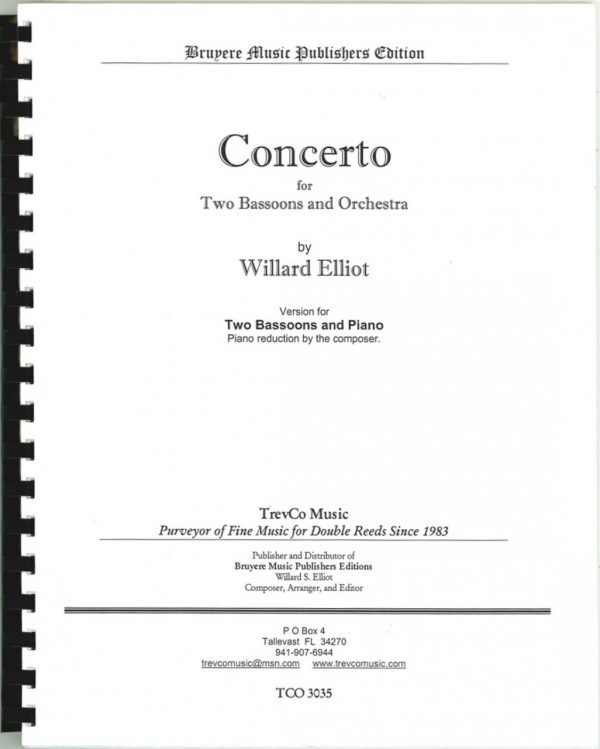 Concerto for 2 Bassoons and Piano by Willard Elliot