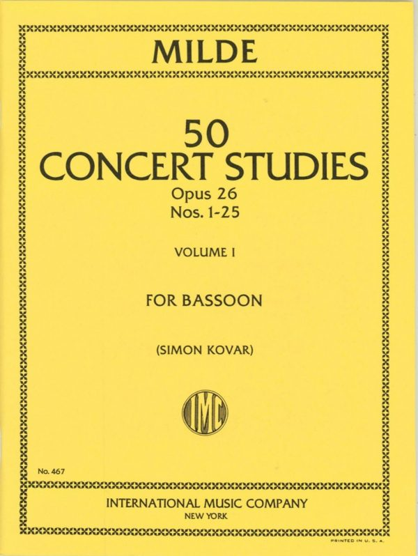 Milde: 50 Concert Studies, Op. 26. Vol. 1: Nos. 1-25.  International Edition