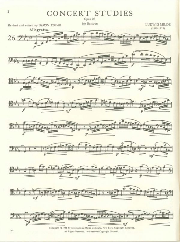 Milde: 50 Concert Studies, Op. 26. Vol. 2: Nos. 26-50. International Edition