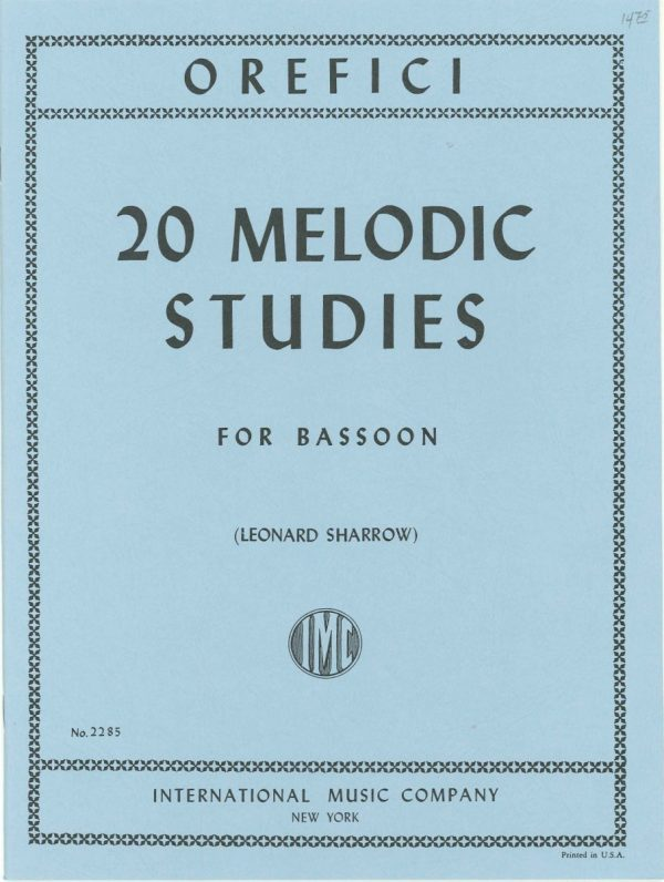 Orefici: 20 Melodic Studies for Bassoon