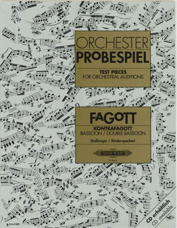 Kolbinger/Rinderspacher: Orchester Probespiel, Test Pieces for Orchestral Auditions for Bassoon