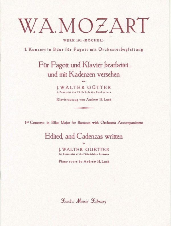 Mozart: Bassoon Concerto Bb K 191, Guetter ed.