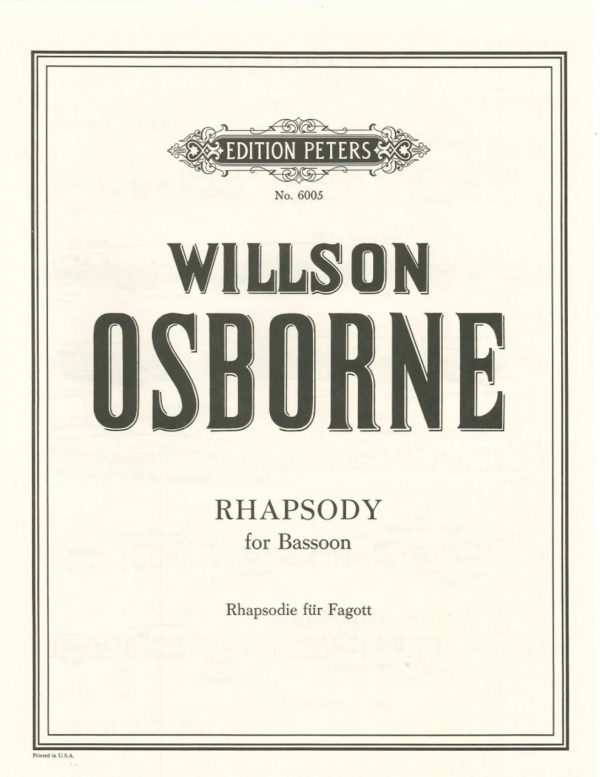 Osborne: Rhapsody for Solo Bassoon
