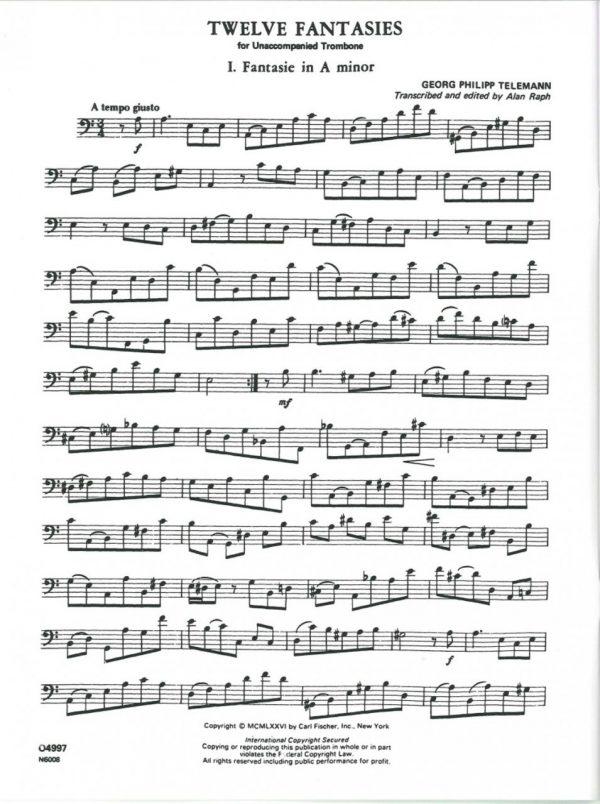 Telemann: 12 Fantasies for Unaccompanied Bassoon/Trombone