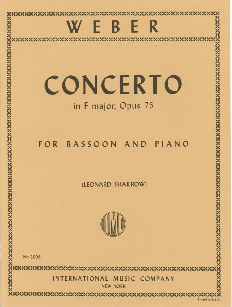75 Op Bassoon Concerto in F Major Study Score