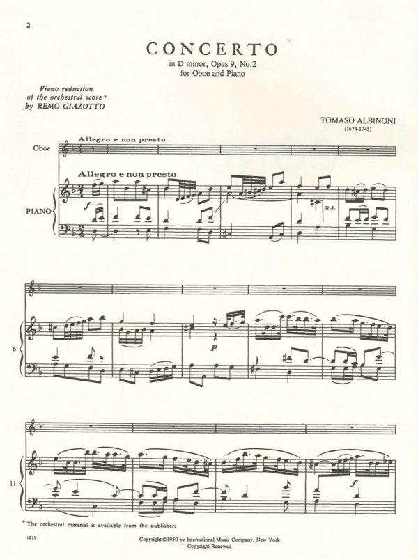Albinoni: Concerto in D Minor op 9/2