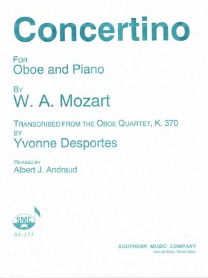Mozart: Oboe Quartet arranged for Oboe and Piano