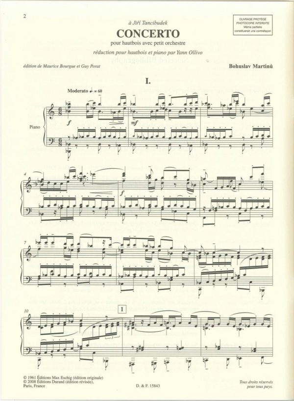 Martinu:  Concerto for oboe