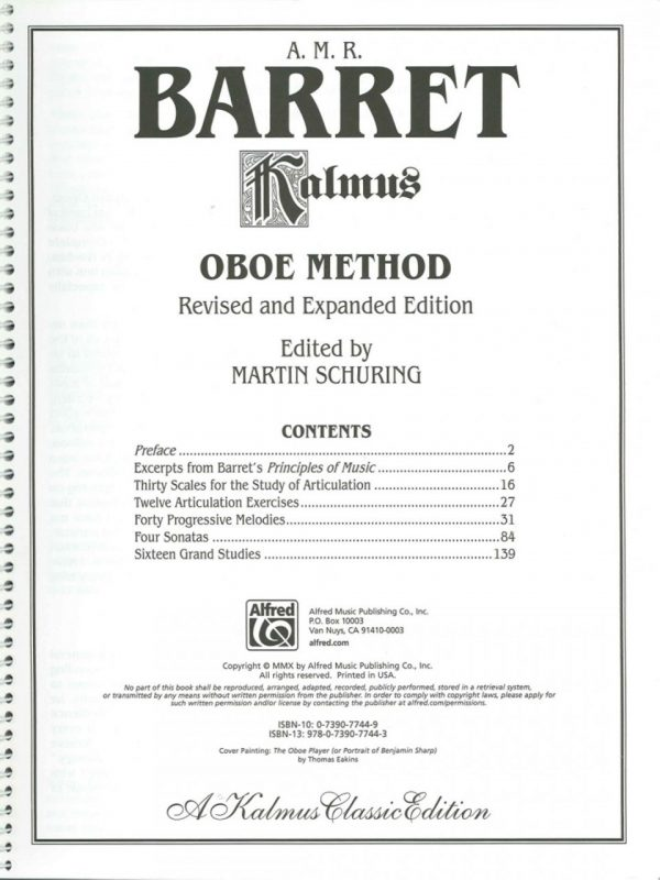 Barret: Oboe Method, ed. Martin Schuring