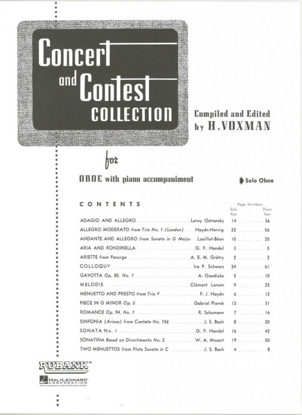 Concert and Contest Collection, oboe part only