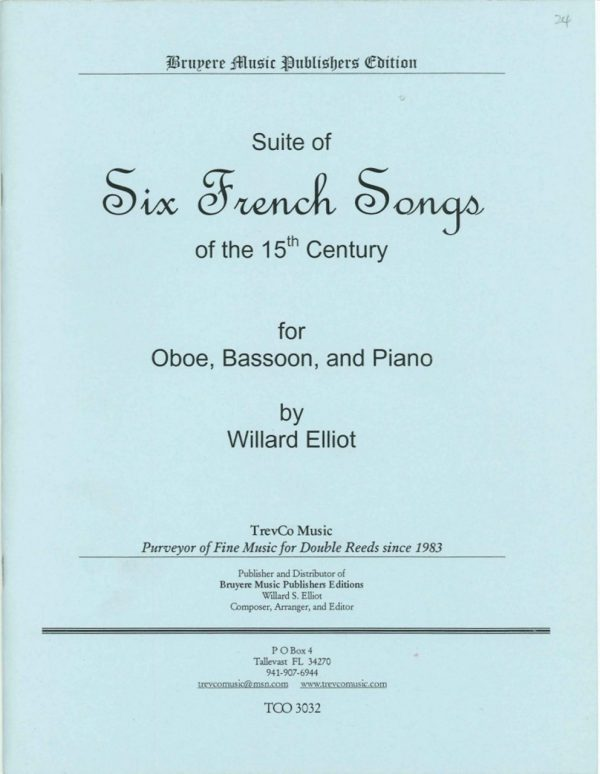 Elliot: Suite of 6 French Songs for Oboe, Bassoon, & Piano