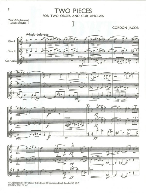 Jacob: 2 Pieces for 2 Oboes & English Horn