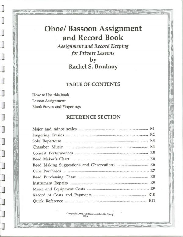 Rachel S Brudnoy: Oboe/Bassoon Assignment and Record Book