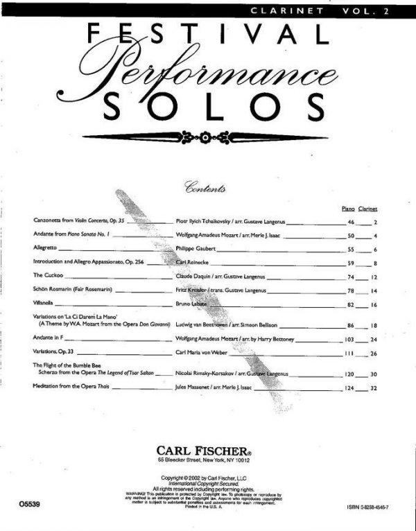 Carl Fischer: Festival Performance Solos Vol. 2 for Clarinet