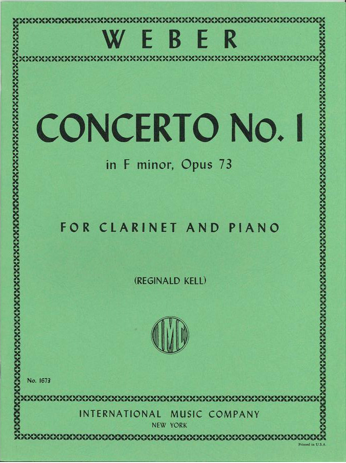 Weber Concerto For Clarinet And Piano No 1 F Minor Op 73 Kell Ed